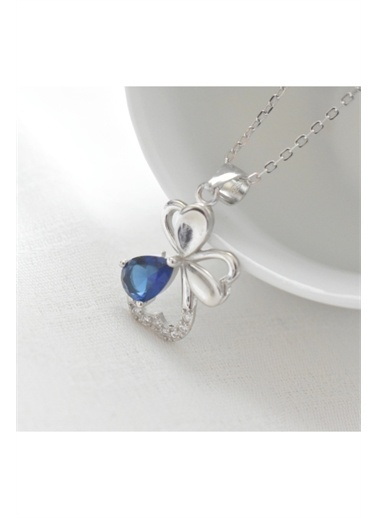 Enesstore Gümüş Safir Taşlı Güzel Çiçek Bayan Gümüş Kolye Beyaz